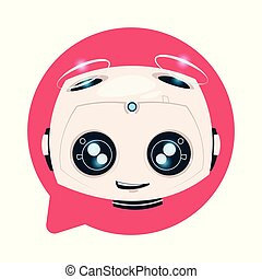 Chatbot Cute Robot In Chat Bubble Icon Isolated Chatterbot Technology Concept