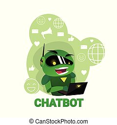 Chatbot Icon Chatter Bot Using Laptop Digital Robot Support Modern Technology Concept