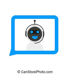 Chatbot icon concept, chat bot or chatterbot. Robot Virtual Assistance Of Website Or Mobile Applications