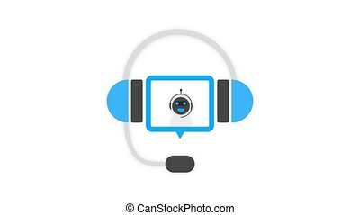 Chatbot icon concept, chat bot or chatterbot. Robot Virtual Assistance Of Website Or Mobile Applications. Motion graphics.