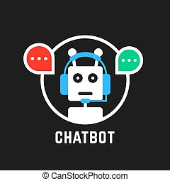 chatbot icon like hotline service. concept of ui, media, hot...