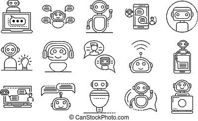 Chatbot icons set, outline style