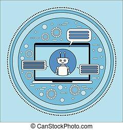 chatbot, komputer, służba, technologia, laptop, nowoczesny, ...