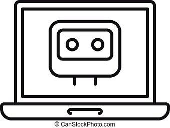 chatbot, laptop, szkic, ikona, styl