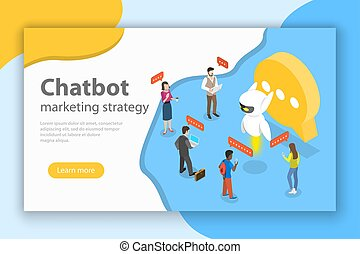 Chatbot markting strategy flat isometric vector concept.