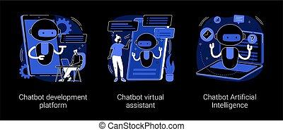 chatbot, resumen, illustrations., concepto, vector, ...