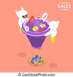 Chatbot sales funnel flat isometric vector concept.