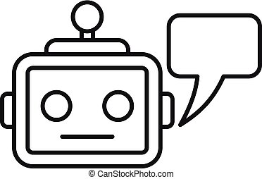 Chatbot service icon, outline style