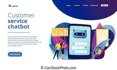 chatbot, serviceconcept, aterrizaje, page., cliente