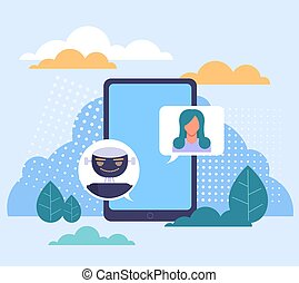 Chatbot texting support communicate concept. Vector flat graphic design illustration