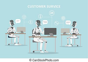 Chatbots customer service. Robots with headset answering ...