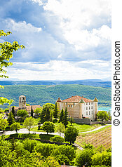 chateau and church in Aiguines, Var Department, Provence, ...