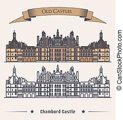 chateau chambord, castillo, francés, edificio.