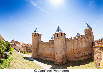 Chateau Comtal at sunny day, Carcassonne, France