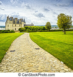 Chateau de Amboise medieval castle, garden and footpath. Loire Valley, France