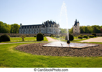 Chateau de Chenonceau backlighted