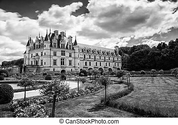 Chateau de Chenonceau spanning the River Cher in the Loire Valley in France.