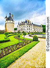 Chateau de Chenonceau Unesco medieval french castle and pool...