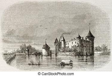 Chateau de la Brede - Old illustration of the Chateau de la...