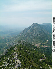 Chateau de Queribus view 2 - View over the mountains from...