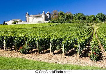 chateau, de, rully, mit, weinberge, burgunder, frankreich
