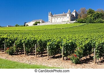 Chateau de Rully with vineyards, Burgundy, France