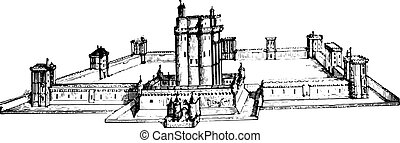 Chateau de Vincennes as it was still in the seventeenth century, vintage engraving.
