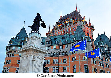 Chateau Frontenac with statue at dusk in Quebec City
