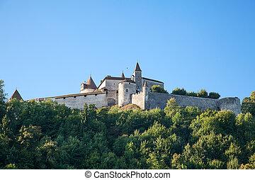 Chateau Gruyere - Famous castle Gruyere in canton Fribourg, ...