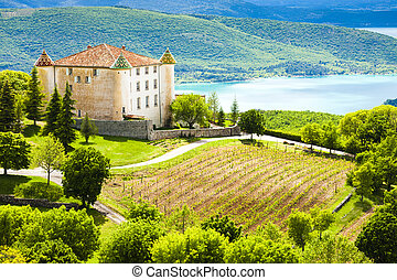 chateau in Aiguines and St Croix Lake at background, Var ...