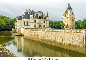 Chateau of Chenonceau with moat