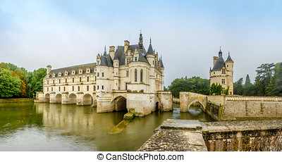 Chateau of Chenonceau with river Cher