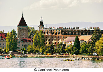 Chateau Ouchy at Geneva Lake promenade in Lausanne