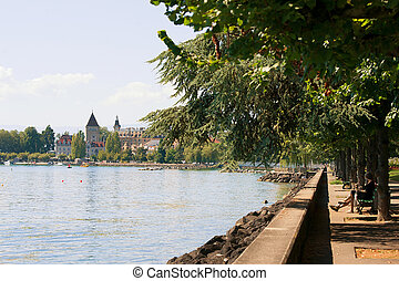 Chateau Ouchy in Geneva Lake promenade in Lausanne