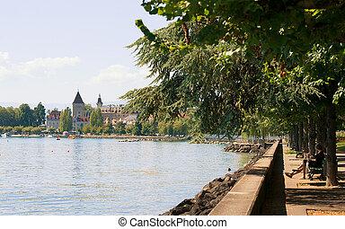 Chateau Ouchy in Geneva Lake promenade summer Lausanne