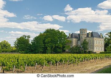chateau, und, weinberg, in, margaux, bordeaux, frankreich