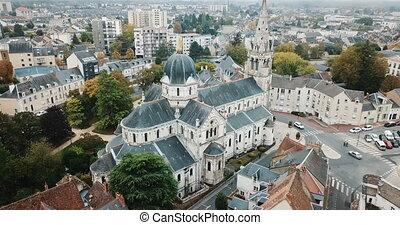 chateauroux, france, central, catholique, notre, vue, ...