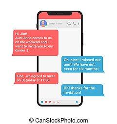 chating, styl, smartphone, sieć, isolated., concept., nowoczesny, ilustracja, wektor, posłaniec, towarzyski, messaging, wiadomość, bańki
