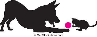 chaton, et, chien