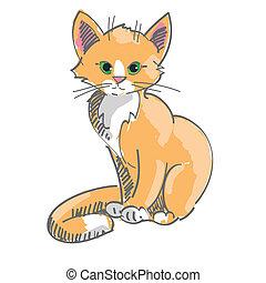 chaton, illustration, séance, vecteur