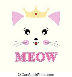 chaton, isolé, princesse, agréable, arrière-plan., dessin animé, blanc
