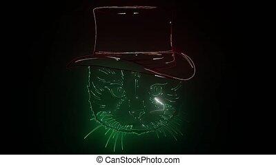 chaton, nuit, signe., lumière, maine, clair, concevoir élément, incandescent, club, chouchou, bannière, nègre, enseigne, chat, chats, logo, effet, publicité, néon, tête, clinique, concept, magasin, vétérinaire