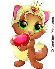 chaton, princesse, à, décorations