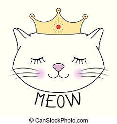 chaton, princesse, silhouette., mignon