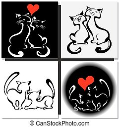 chats, amour, heureux