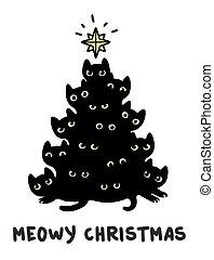 chats, arbre, noël