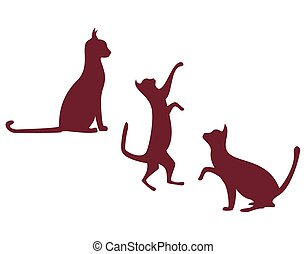 chats, brun, blanc, illustration, fond, silhouette