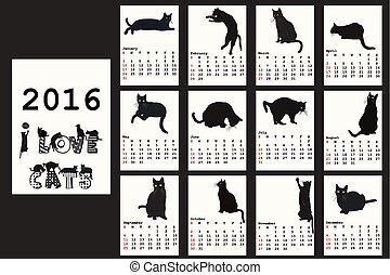 chats, calendrier, 2016, noir