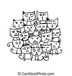 chats, croquis, famille, conception, ton