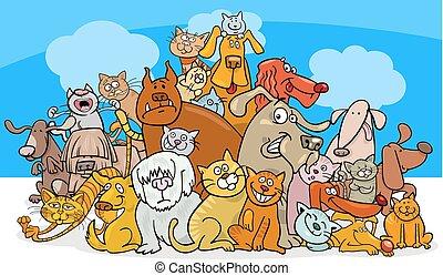 chats, dessin animé, caractères, chien